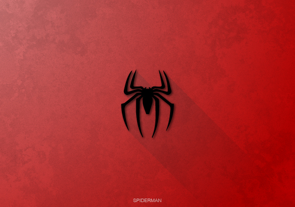 Superheroes logos with long shadow(Spiderman)