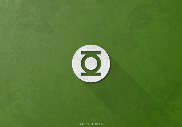 Superheroes logos with long shadow(Green Lantern)