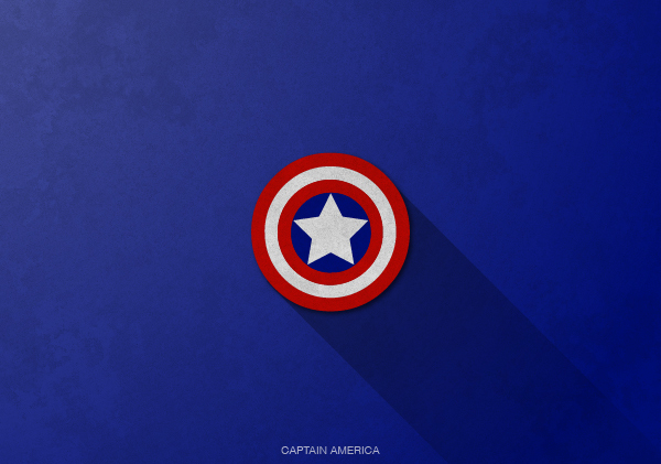 Superheroes logos with long shadow(Captain America)
