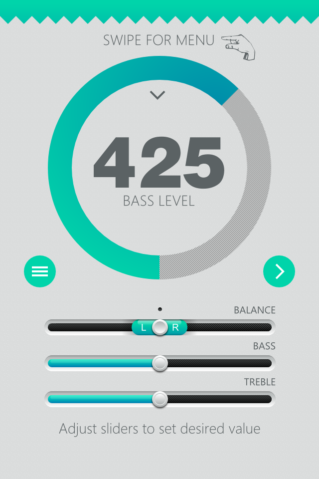 Flat UI design inspiration by Zoe Love - Sound Booster App for Apple iPhone/iOS
