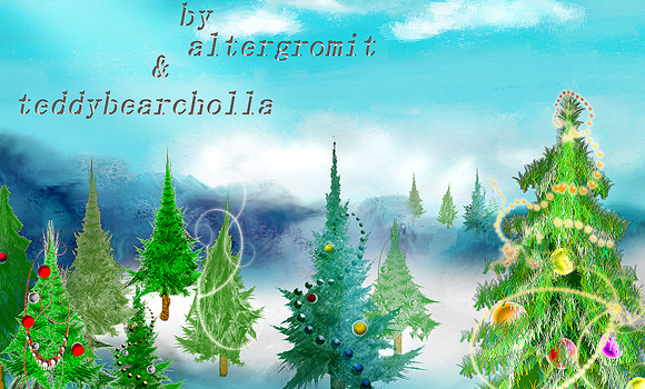 freebie photoshop download brushes pack christmas trees pines