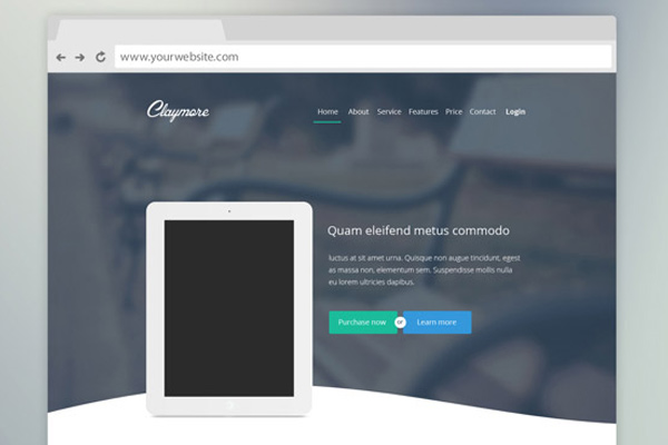 claymore landing page website app mockup freebie