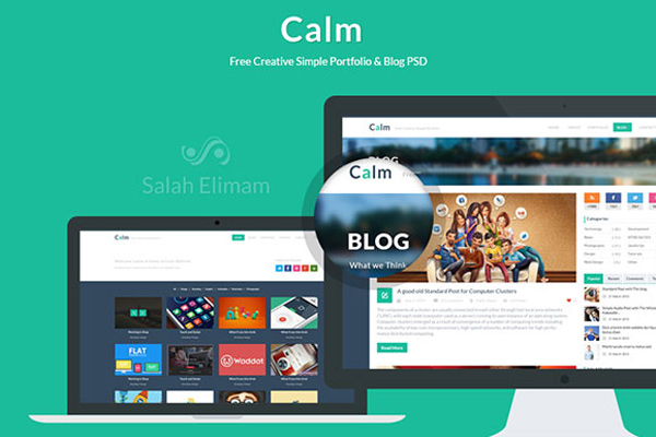 calm freebie psd template portfolio download