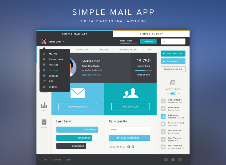20 Amazing Examples of Flat Web Design - Mail App UI by Tommy Roussel