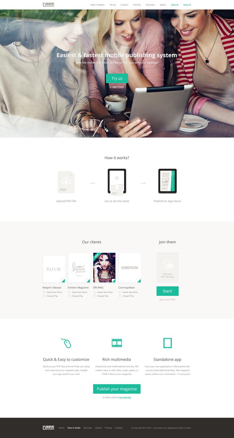 20 Amazing Examples of Flat Web Design - IssueStand Landing Page by Pawel Kadysz
