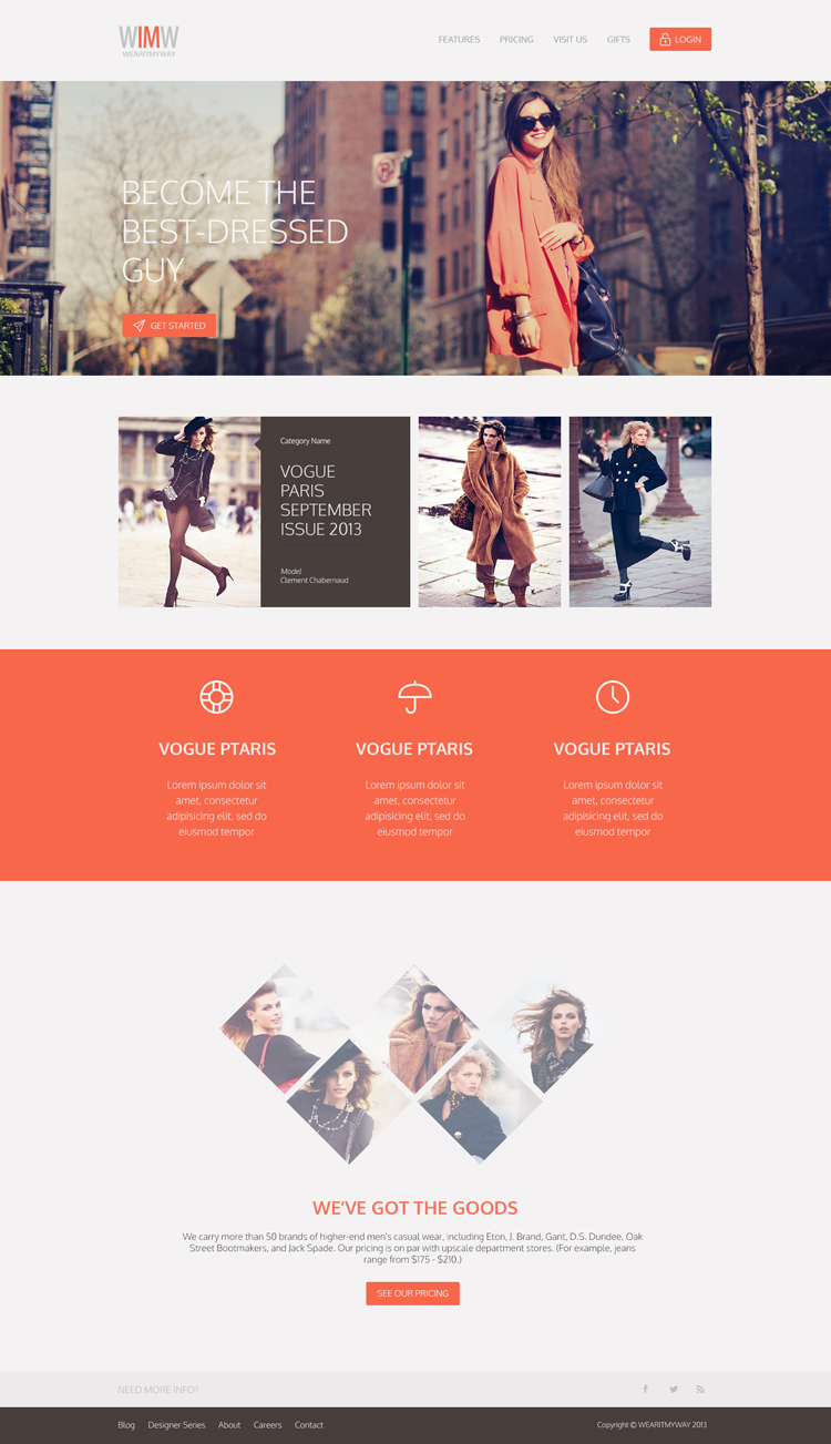 20 Amazing Examples of Flat Web Design - Clean Fashion Website by Ahmed Araj
