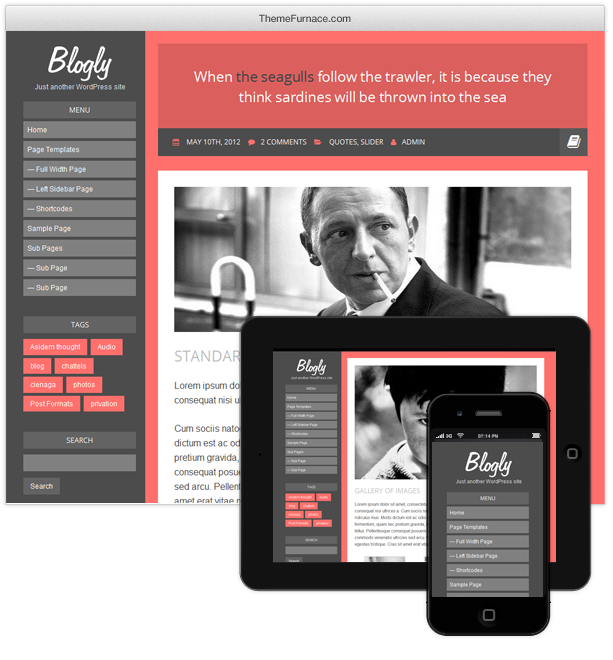 blogly large1 Going Flat With 15 Free WordPress Themes