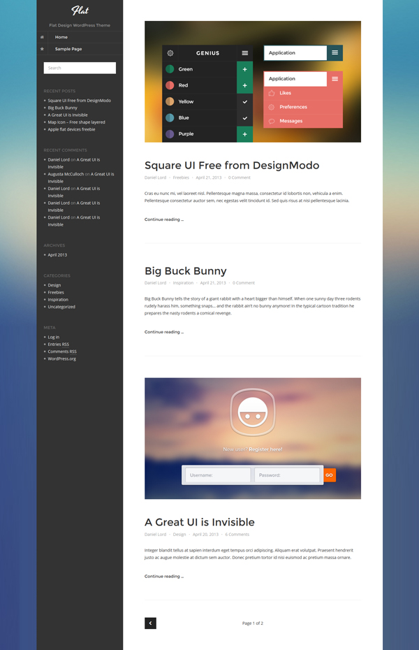 new thumbnail1 Going Flat With 15 Free WordPress Themes