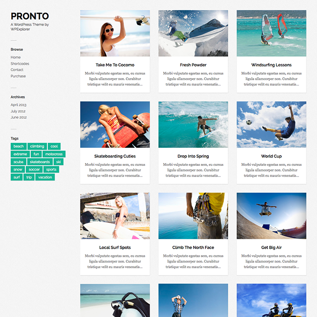 pronto responsive blogging wordpress theme1 Going Flat With 15 Free WordPress Themes
