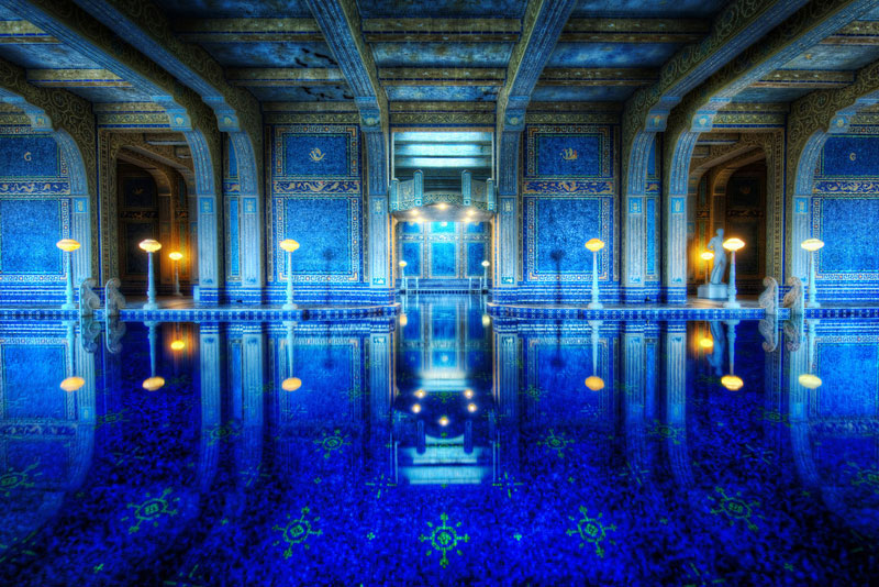 blue indoor tiled roman pool hearst castle