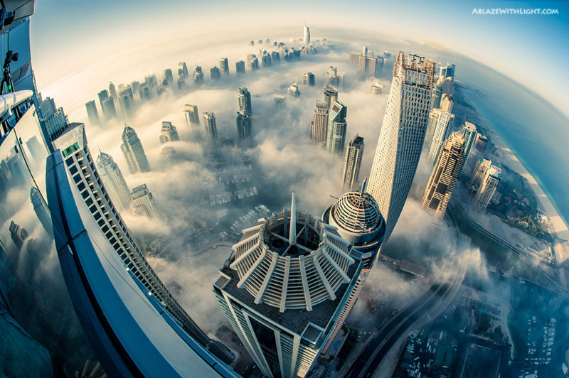 cloud city foggy dubai aerial from above princess tower