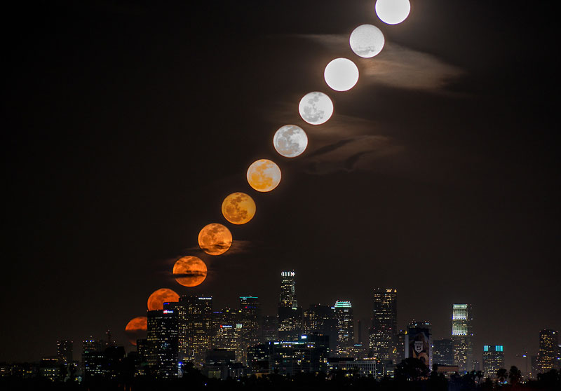 moonrise timelapse over la