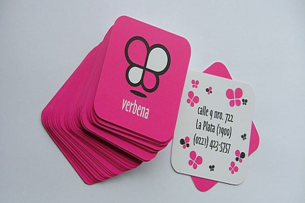 Verbena x-small die-cut business card