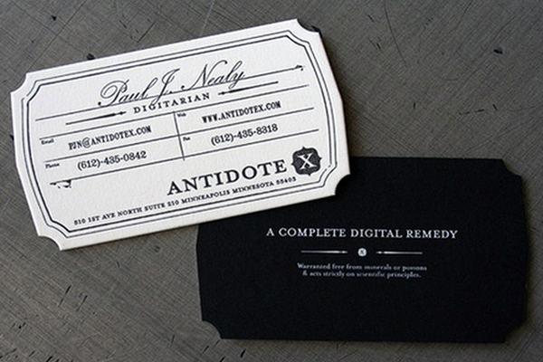 Antidote X die-cut business card