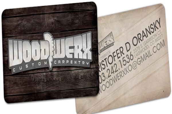 Woodwerx is a fine fine example of die-cut business cards