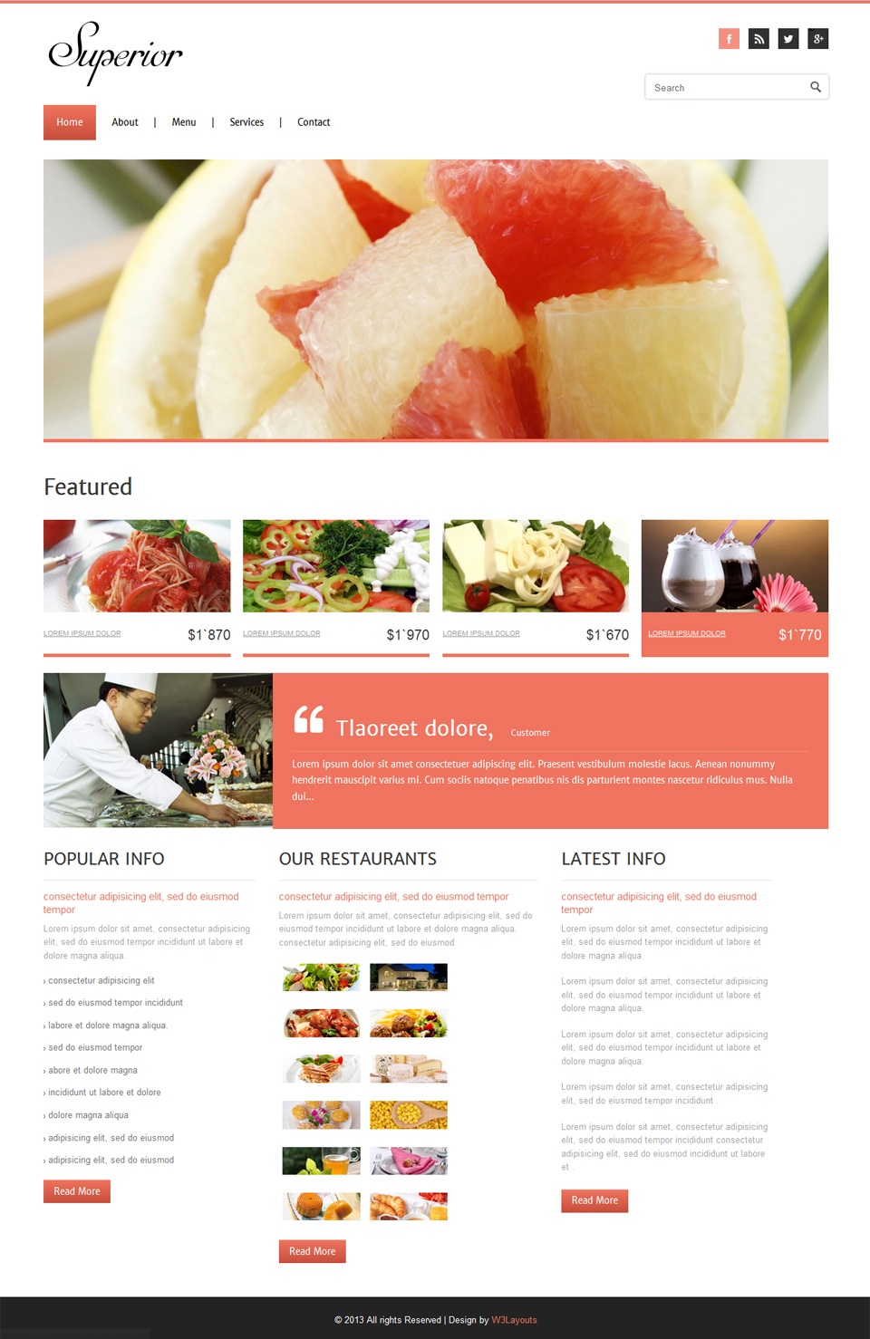 Free Superior Restaurant HTML5 Website Template