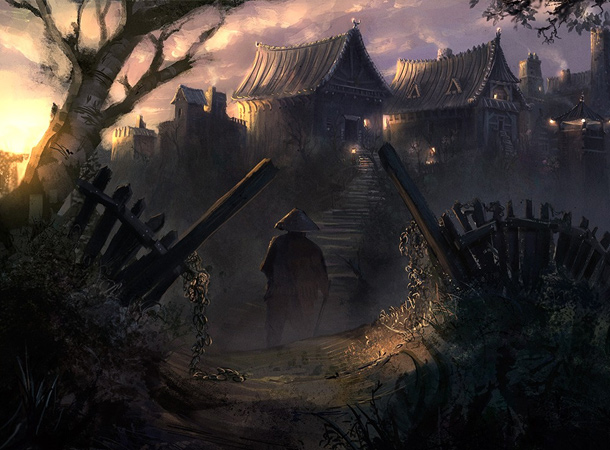 asian village concept painting bjorn wirtz