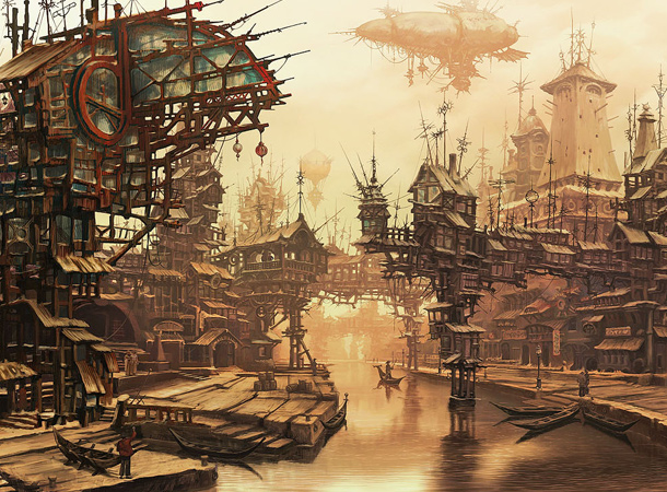 village environment steampunk design sergey skachkov
