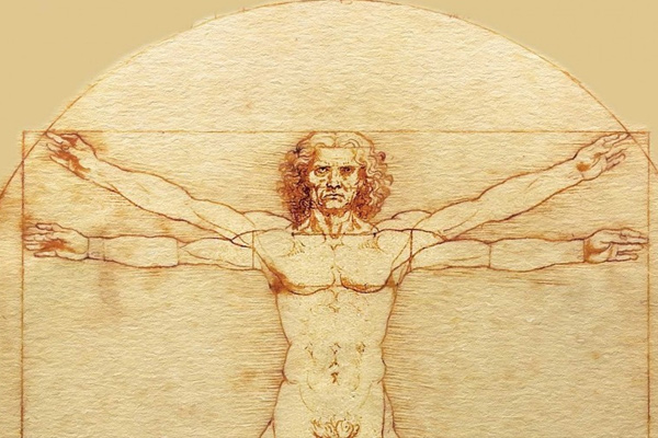 leo da vinci vitruvian man sketch youtube channel art