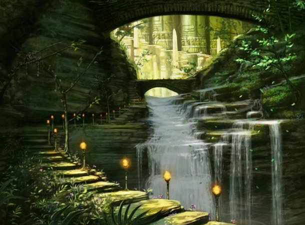 sacred waterfall pavilion environment james wolf strehle