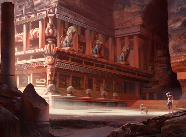 canyon temple environment painting james wolf strehle