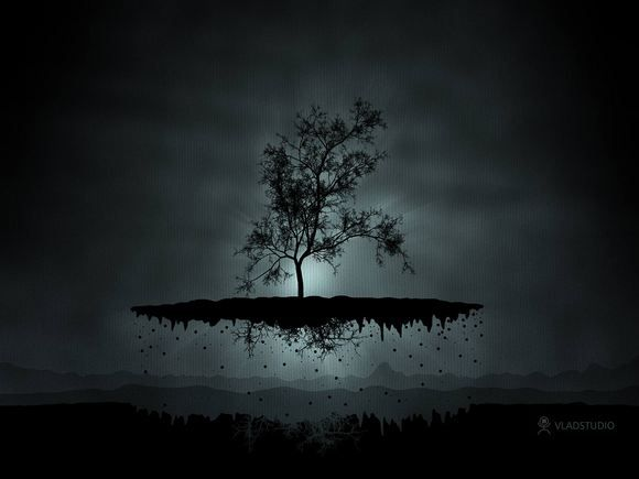 A Flying Tree Dark Wallpaper