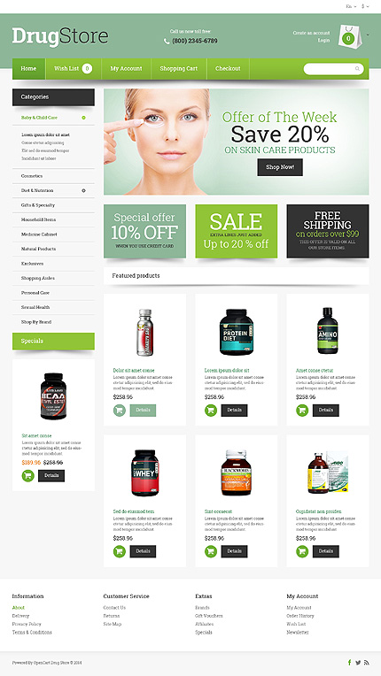 Drug Store Responsive OpenCart Template