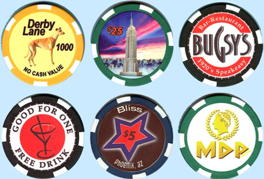 Ceramic Casino Poker Chips Artistic Designs Collection of Casino Tokens