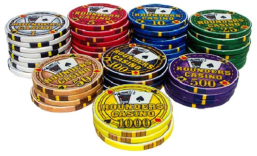 Rounders Casino Chipco Poker Chip Stack Artistic Designs Collection of Casino Tokens