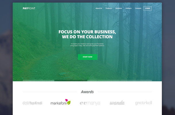 paypoint flat website layout inspiration