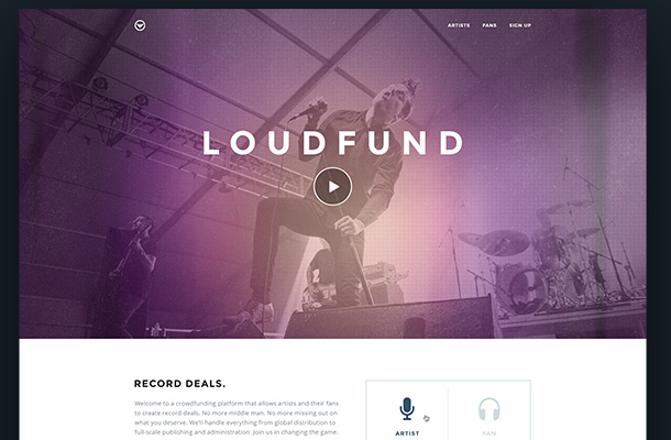 loudfund concept website fullscreen background