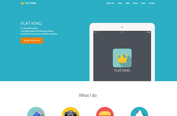 flat king single page bootstrap layout
