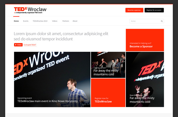 tedx wroclaw event website layout