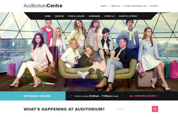 shopping centre website flat layout