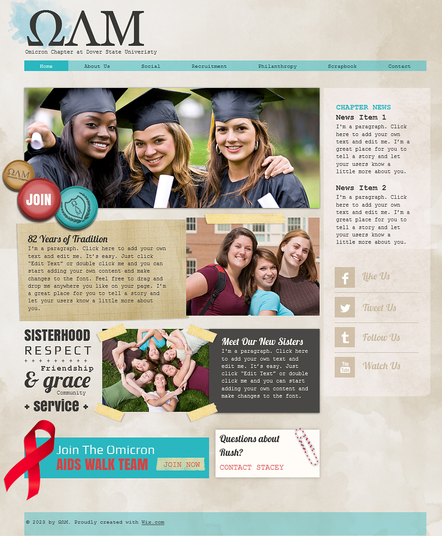 Free College Sorority HTML5 Template