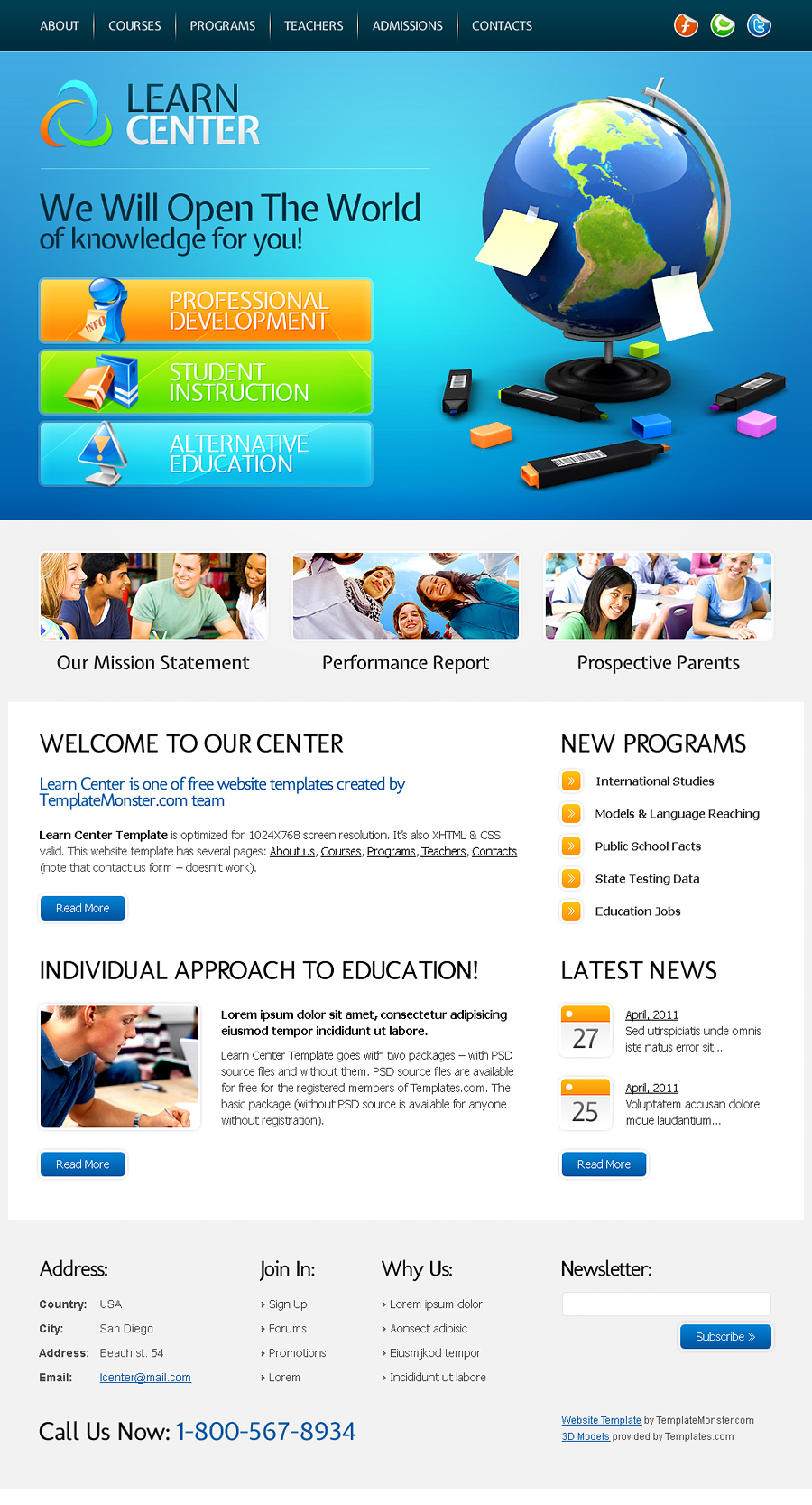 Free Learning Center Website Template