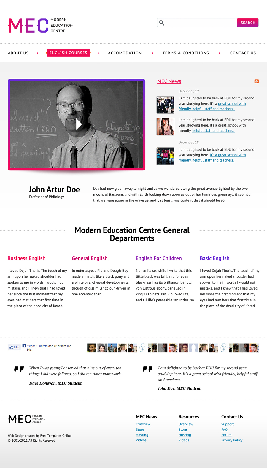 Free Education Centre Website Template
