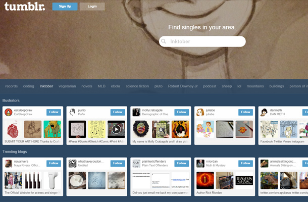 tumblr search page interface