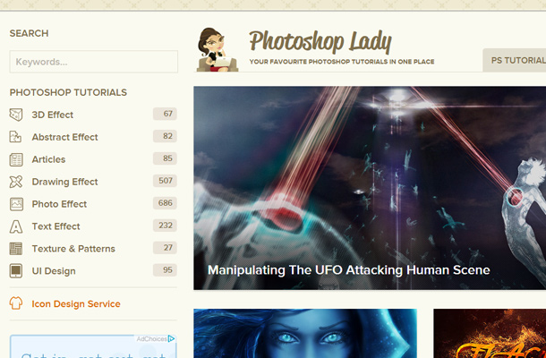 photoshop lady website search form ui