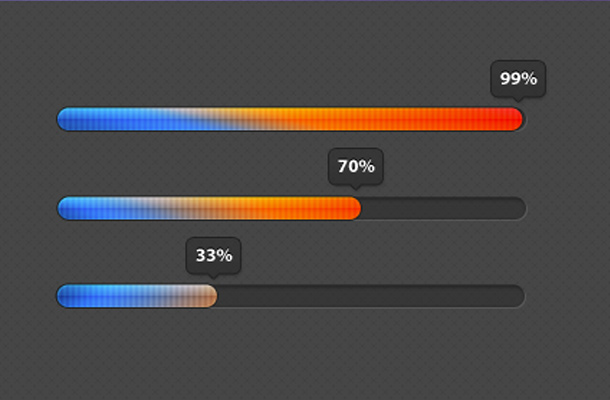 blue orange gradient shades progress bars
