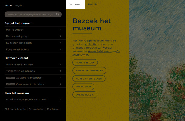 van gogh museum website search interface