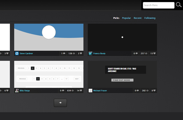 codepen ide cloud editor interface search