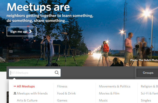 meetup social network search form interface