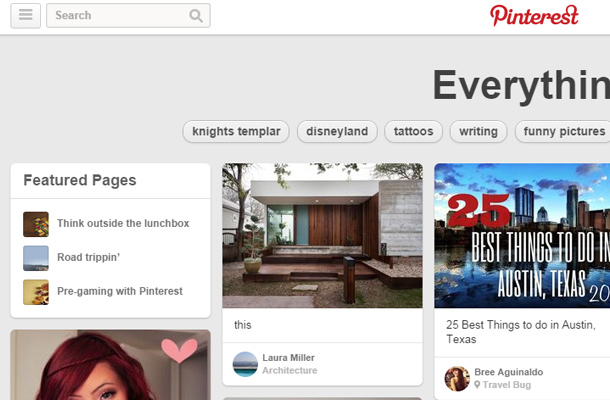 pinterest social network search form clean