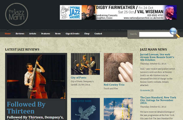 jazz music website simple search interface