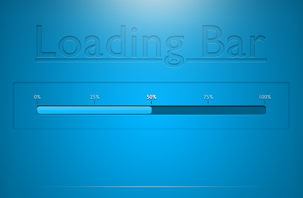 bright shiny blue loading bar psd freebie