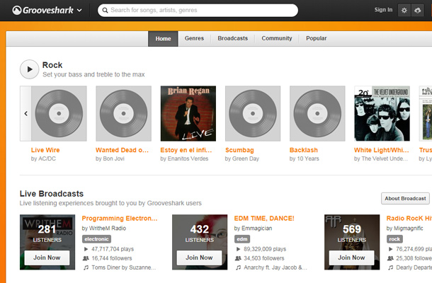 grooveshark music search field interface