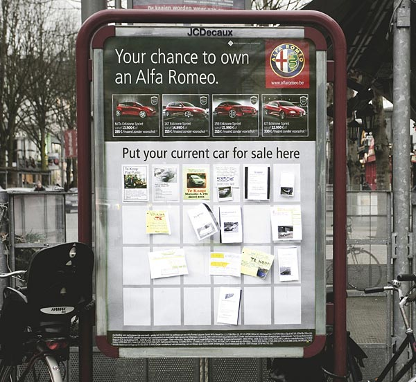alfa romeo helps other people sell their cars 20+ Examples of Clever Bus Stop Advertising