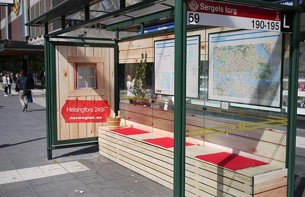 norwegian airline s new destinations the sauna 20+ Examples of Clever Bus Stop Advertising