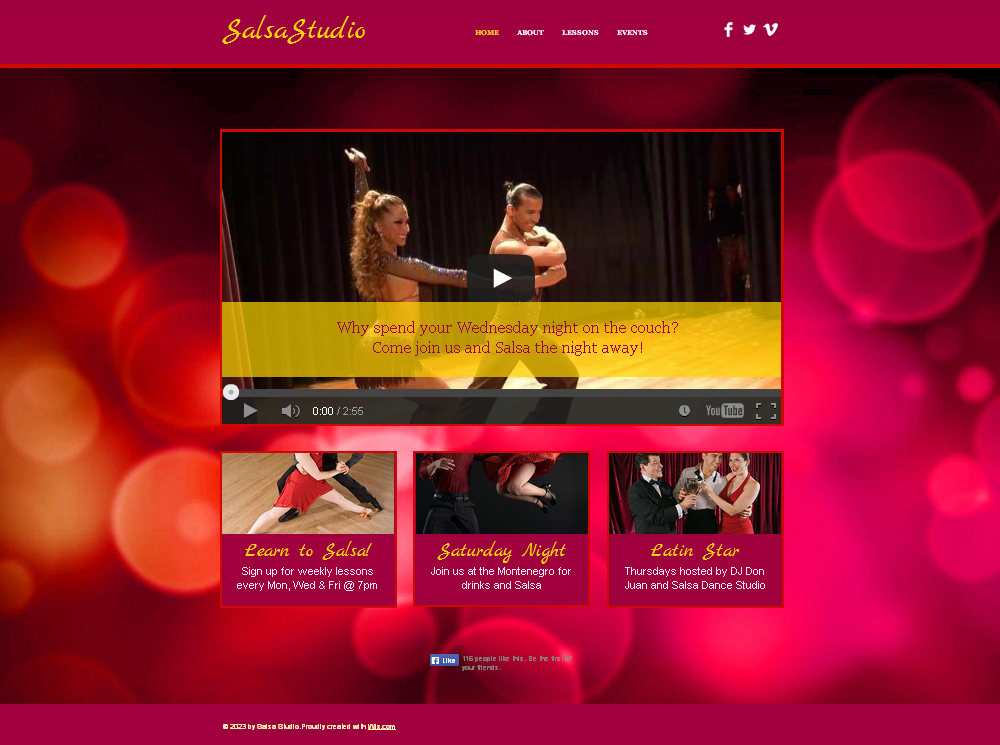 Free Latin Dance Studio HTML5 Website